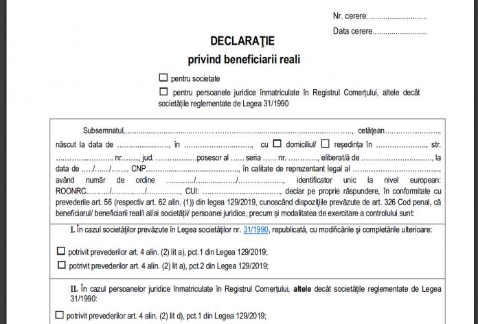 Declaratie privind beneficiarii reali